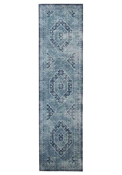 Add style to your hallways with the Menhit Blue Transitional Patterned Runner Rug