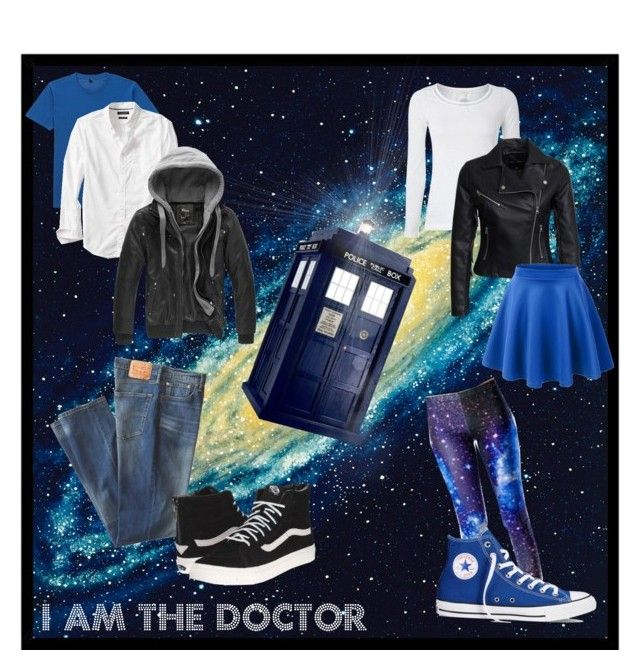 Mr and Mrs Doctor by timetravelingfashionistas on Polyvore featuring polyvore, moda, style, White Stuff, New Look, Vans, Converse, Levi's, Banana Republic, Uniqlo, Brewster Home Fashions, fashion and clothing