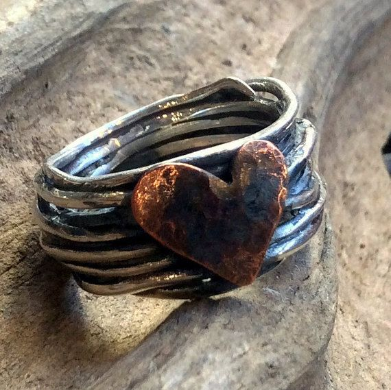 Heart Ring, wire wrap Ring, Engagement copper heart Ring, Silver Ring, Two tones Ring, Statement Ring, boho chic band - I Found A Boy R2317