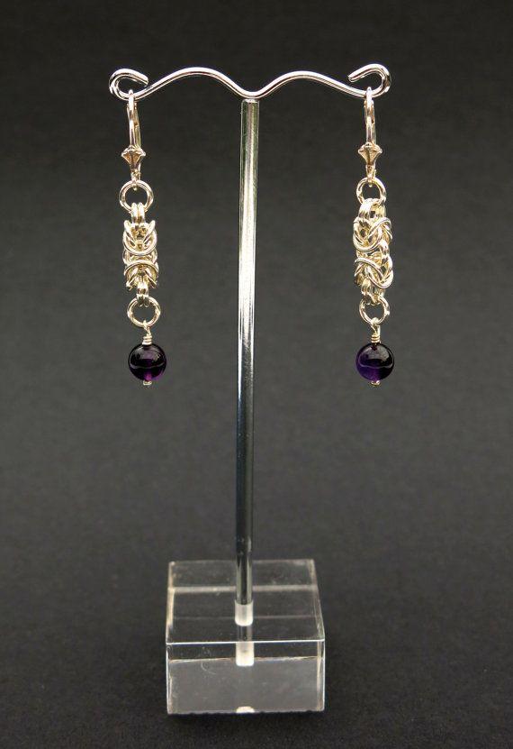Byzantine Chainmaille & Amethyst Drop Earrings
