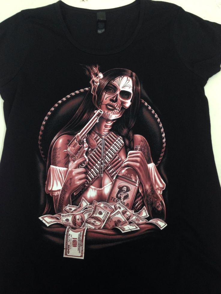 Mexican guns tequila tattoo style tshirt