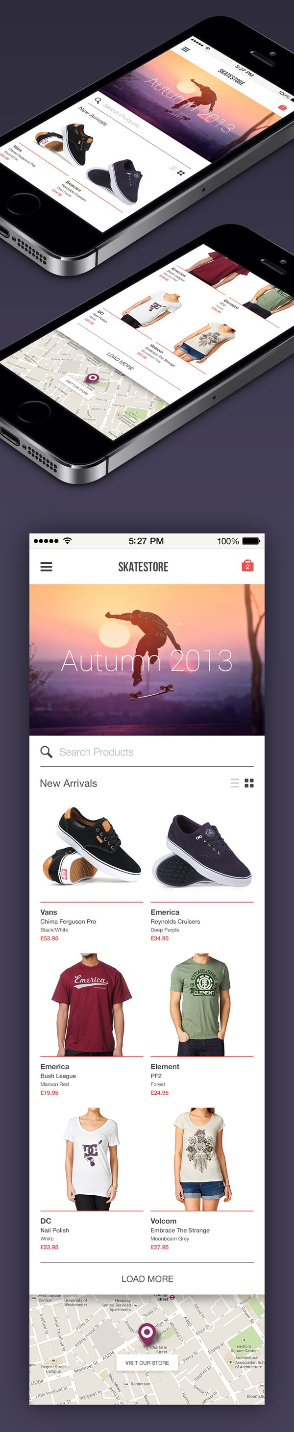 Skatestore on App Design Served
