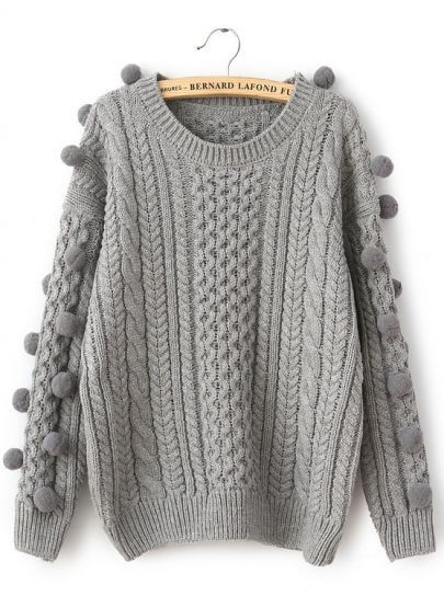 Grey Long Sleeve Twisted Ball Cable Knit Sweater