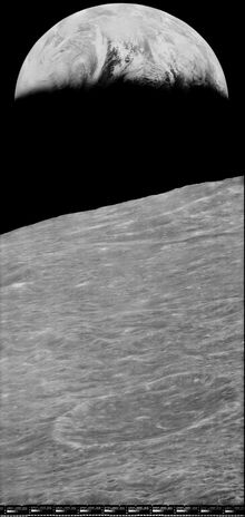 Earth taken from Lunar Orbiter 1 in 1966. This image shows the improvement in picture quality after capture and reprocessing by LOIRP (Lunar Orbiter Image Recovery Project).