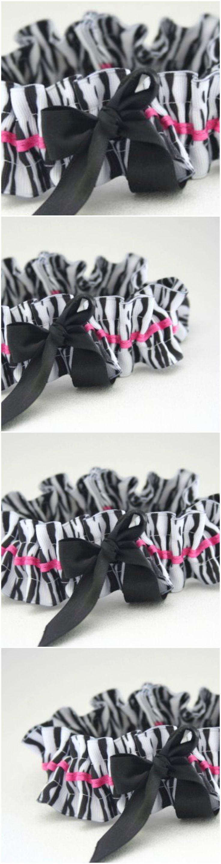 Custom Zebra and Hot pink wedding garter- by The Garter Girl