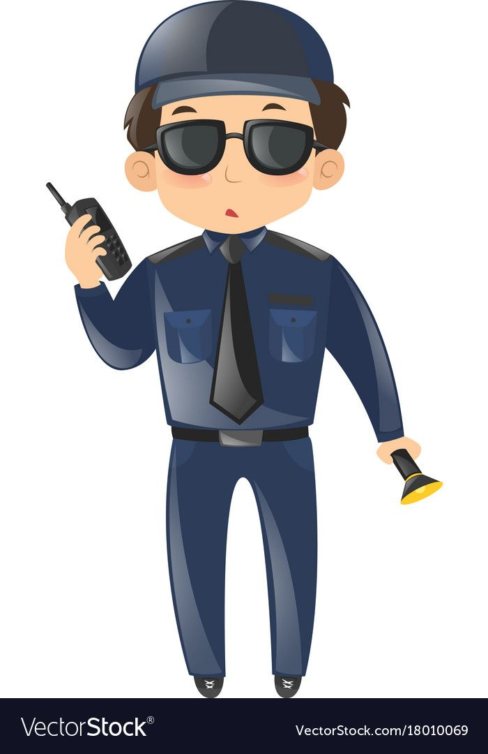 Security Guard With Phone And Light Royalty Free Vector Imagens 3d Aniversario