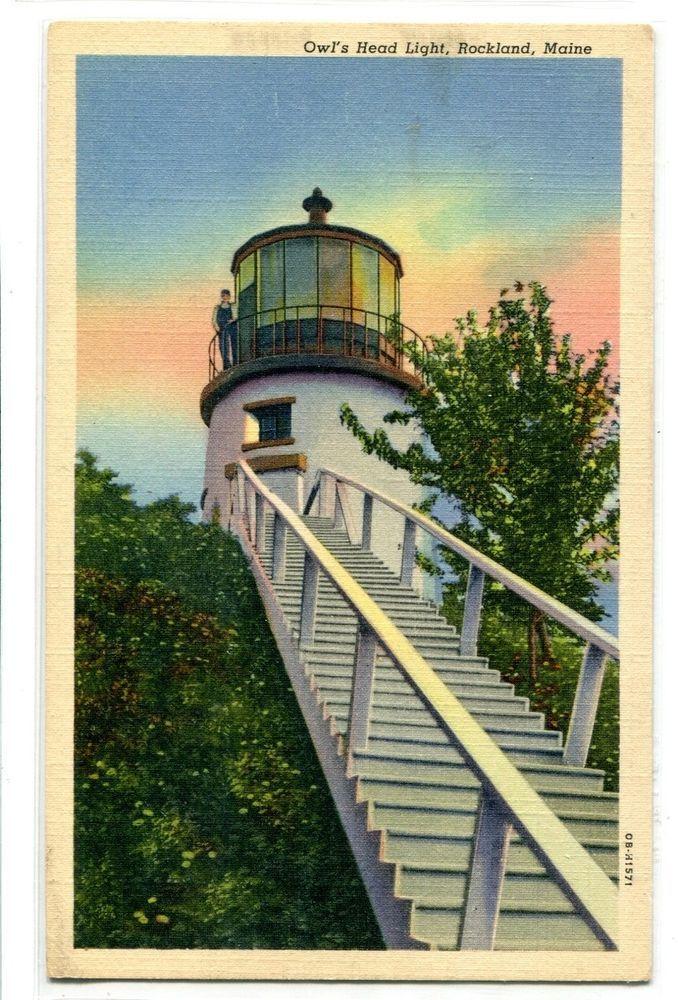 Owl's Head Lighthouse Rockland Maine linen postcard