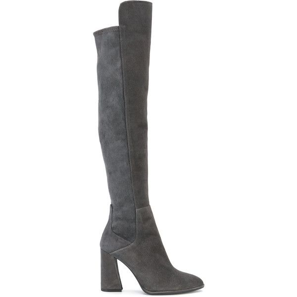 Stuart Weitzman over the knee boots ($1,300) ❤ liked on Polyvore featuring shoes, boots, grey, over-the-knee high-heel boots, stuart weitzman boots, leather high heel boots, gray over the knee boots and over-knee boots