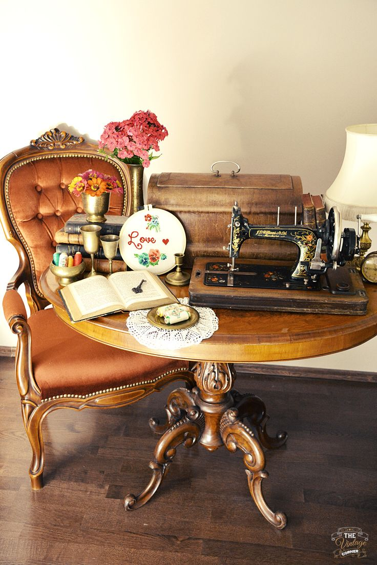 old vintage setup, sewing machine