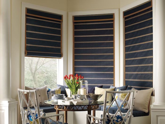 Inspirational Provenance Woven Wood Shades in a bay window for sale at Blind Ambitions in