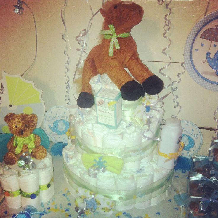 Baby shower for boys, diaper cakes