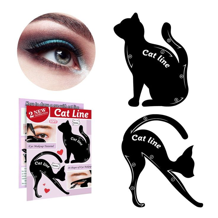 IBEET Cat Eyeliner Stamp Stencil Kit Cat Shape Eye Shadow Guide Template Multifunction Reusable Makeup Beauty Smoky Eye Models Shaper Tool (Silicone, 2 PCS)