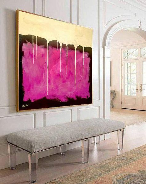 Golden Curtain – Abstract Painting Large Wall Art Gold Painting on Canvas Pink Painting Oversize Painting Large Art Oil Contemporary Art