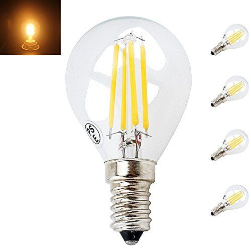 From 9.99 Bonlux 4-pack 4w G45 Ses Led Filament Mini Globe Bulb Warm White 2700k Small Edison Screw E14 Led Antique Clear Golf Ball 40w Incandescent Equivalent(non-dimmable)