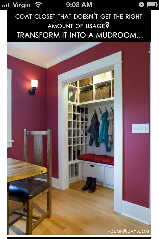 Amazing Easy DIY Home Decor Ideas  Closet To Mudroom . I Donu0027t Like The  Idea Of Putting A Mud Room In The Middle Of The House Somewhere.