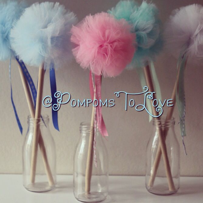 Pompom wands! Great for kids parties...