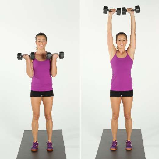 How to do bicep curl and overhead press. - POPSUGAR Studios