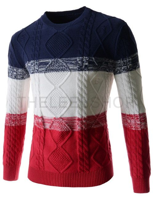 (OPT03-RED) Mens Round Neck Colorful Three-Tone Knitted Basic Long Sleeve Sweater