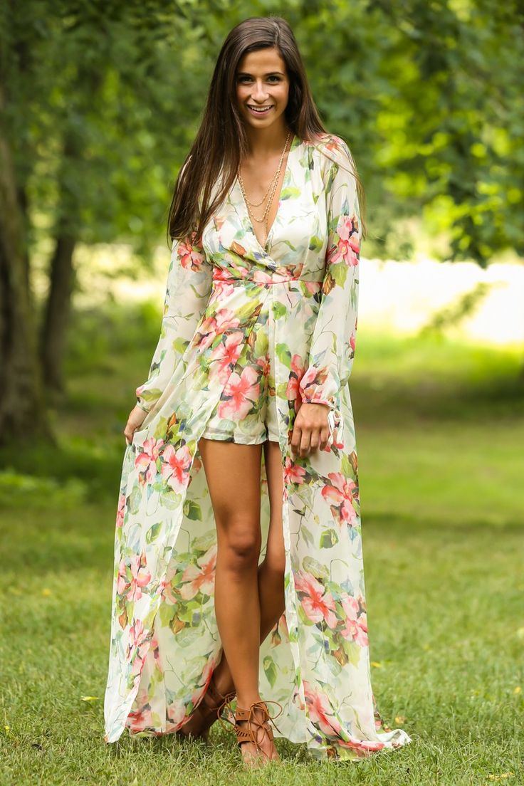 Natural Blooms Floral Print Maxi Romper at reddressboutique.com