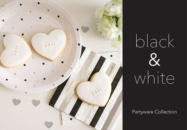 New silver, black & white dot & stripe plates, and napkins. By Illume Partyware.