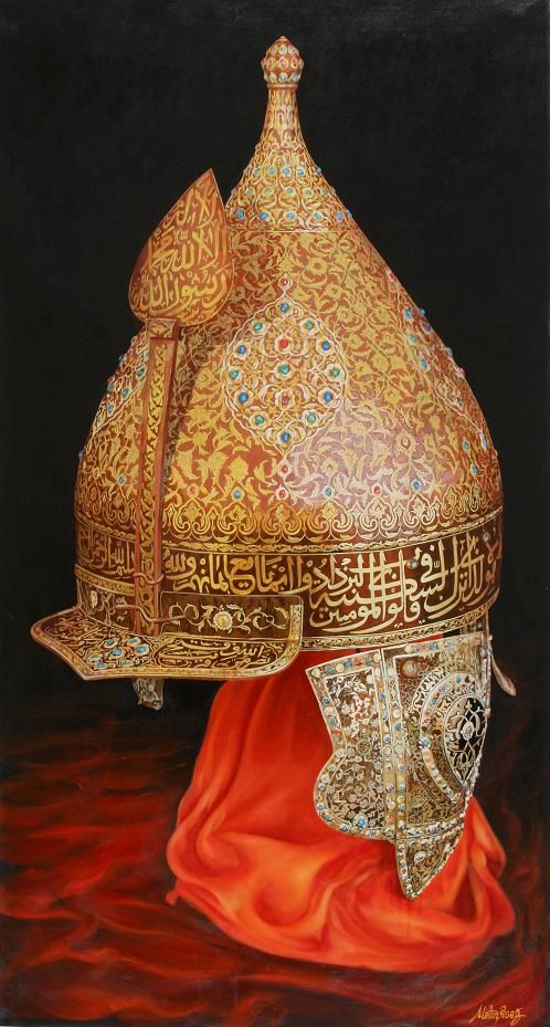Osmanlı  migfer16.yy   100x184cm yağlıboya tablo(100x184cm,Ottoman sultan helmet,oil on canvas