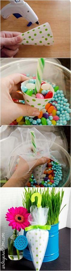 Candy Umbrella Shower Favors - perfect for a baby shower