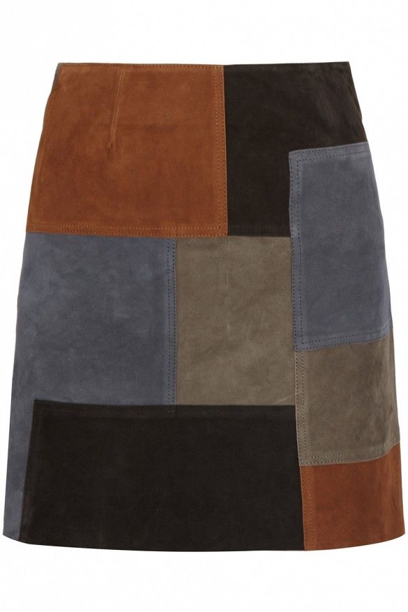 MiH Patchwork Suede Mini-Skirt