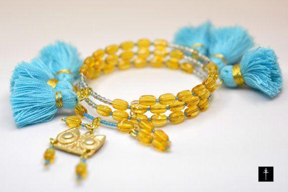Boho style Handmade Memory Wire Bracelet with light by BYTWINS