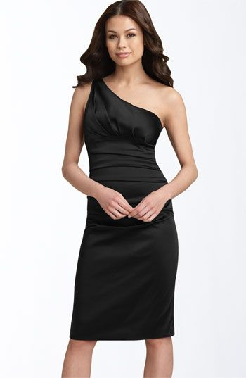 Suzi Chin for Maggy Boutique Stretch Satin Sheath Dress: Bridesmaid Dresses, Black Knee, Knee Length, Satin, Wedding, One Shoulder, Sheath Dress, Little Black Dresses