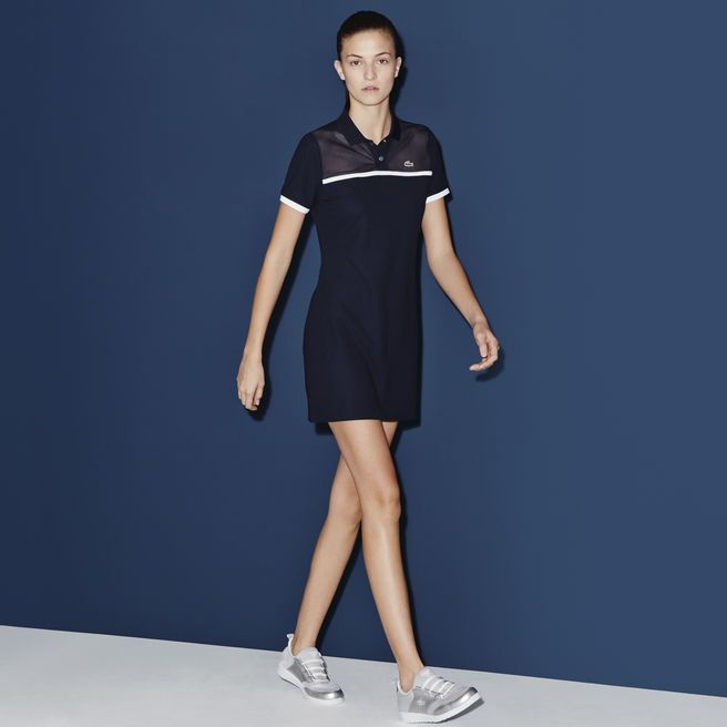 Polo dress with mesh inset on shoulders