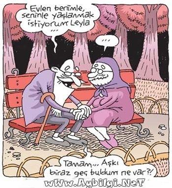 aşkı geç bulan yaşlı sevgililer en güzel aşk karikatürleri