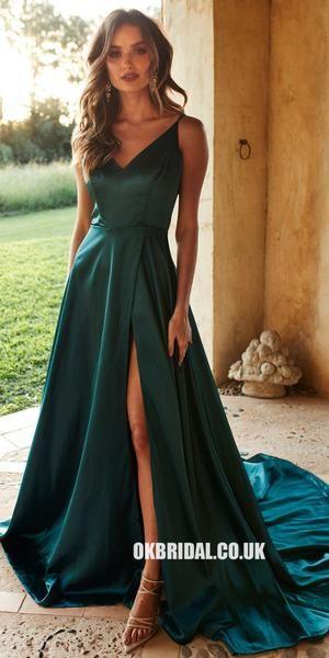 Gorgeous A-Line Slit Backless V-neck Prom Dresses, FC1984
