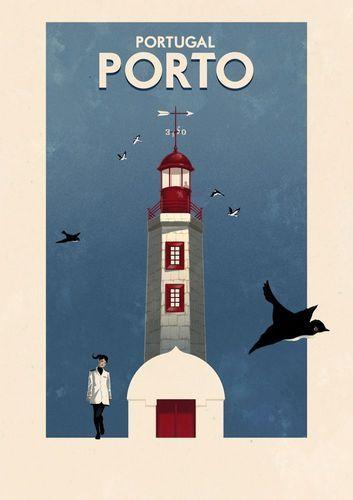 Porto, Portugal, Vintage Poster