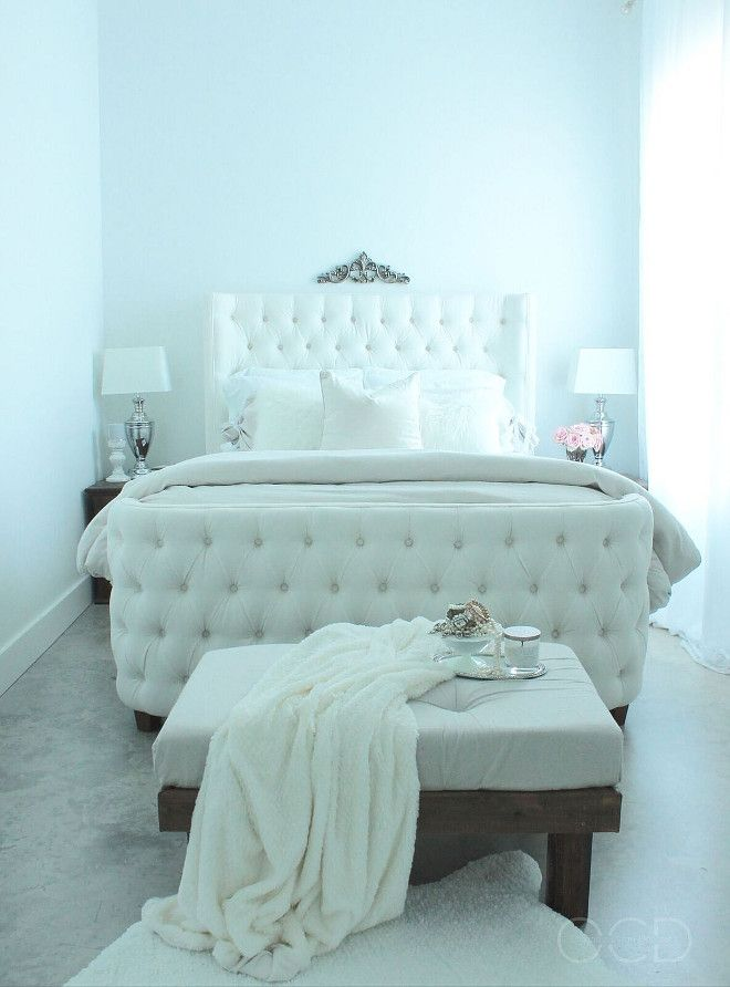 White Tufted Bed. White Tufted Bed. Bedroom with White Tufted Bed. Bed is from Joss and Main. White Tufted Bed #WhiteTuftedBed TuftedBed Beautiful Homes of Instagram @organizecleandecorate