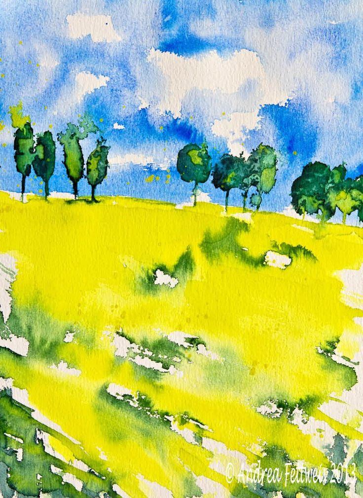 Aquarellmalerei Tutorial: Landschaft mit leuchtend gelbem Rapsfeld unter...