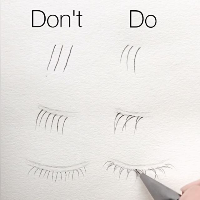 """11k Likes, 52 Comments – Silvie Mahdal (@silviemahdal_art) on Instagram: """"Basic tips for realistic drawing of LOWER eyelashes: ✔️ all the lashes…"""