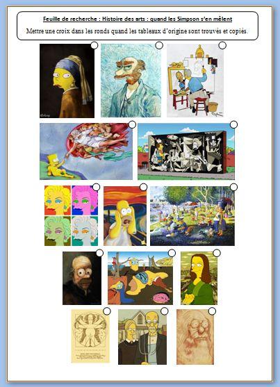 """Histoire des arts: quand les Simpson s'en mêlent. Travail B2I et Hda  où les élèves doivent rechercher et copier/coller les oeuvres originales ayant inspiré des """"dessins Simpson"""". Diaporamas et feuilles de travail à télécharger."""