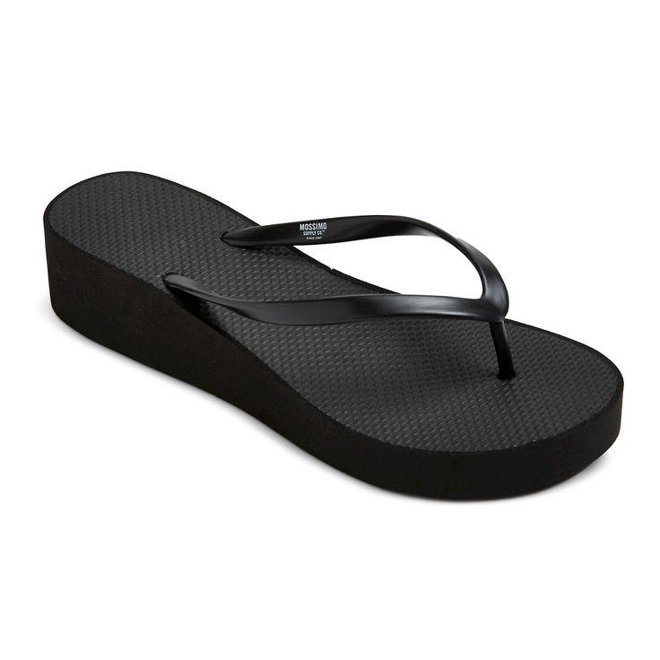 Women's Amaya Wedge Flip Flop Sandals - Black 10