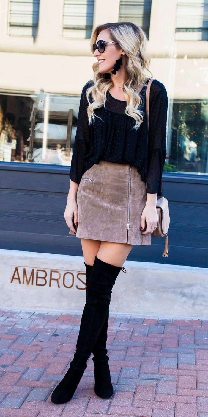 330039962f Black Suede Skirt Outfit Pinterest
