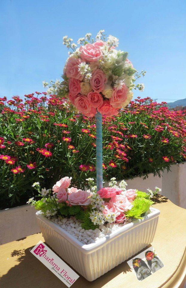 Centro de mesa rosas rosadas flores bautizo topiario for Decoracion bautizo en casa