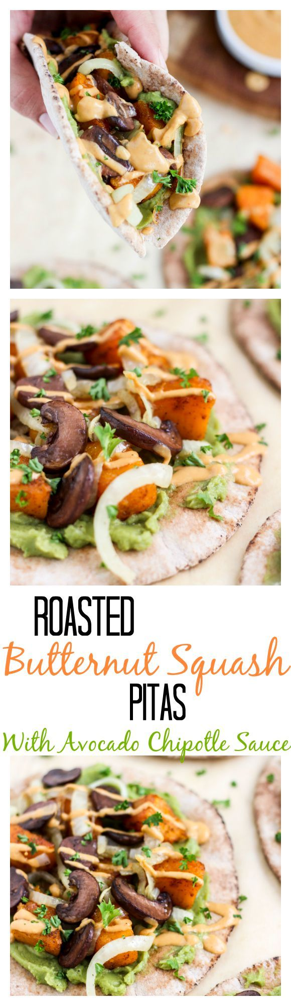 Spicy roasted butternut squash, sautéed onions, mashed avocado, and portobello mushrooms, on a pita, with a chipotle yogurt sauce. Easy vegetarian recipe, that you could use whatever veggies you have on hand! Spicy chipotle sauce is the best!