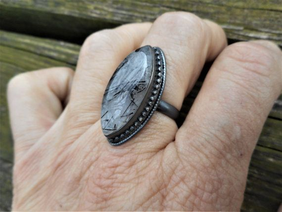 Black ring tourmalinated quartz ring black ring by GothicFire