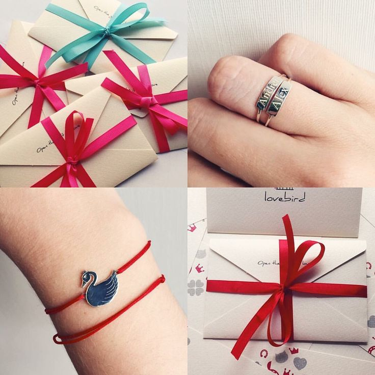 Jewelry packaging, silver jewelry, golden jewelry, name rings, red string, charms, silver swan, envelope,