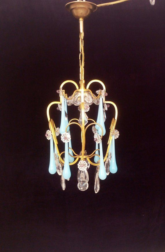 Very Pretty Small Antique French Brass Chandelier With Real Etsy Chandelier Opaline French Brass