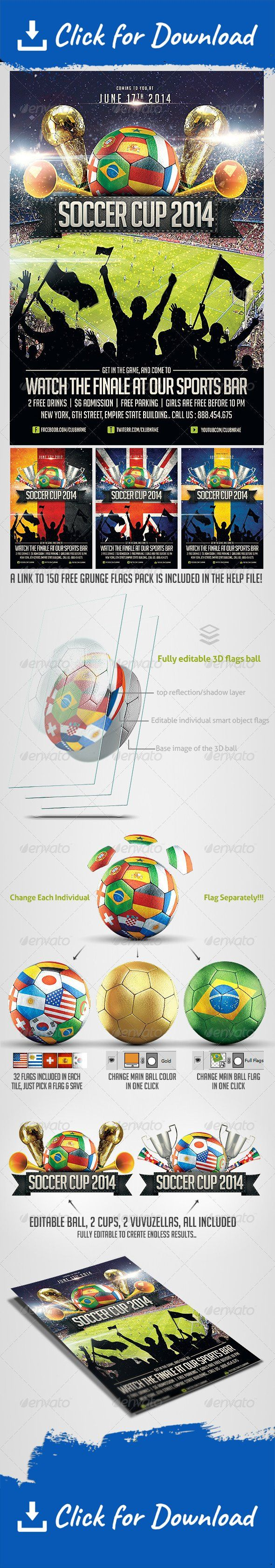 Please dont forget to Rate          The best choice for your world cup event.. easily editable, highly organized file.. with a fully editable 3D Ball, where you can change each individual flag separately, where there is 32 flags in each Tile of the ball !!!.. as well as adding a full color, or flag to the whole ball, using easily editable smart objects…   You can easily change Texts, Colors, Add/Remove objects to this layered PSD , To get new versions of the design.. What y...
