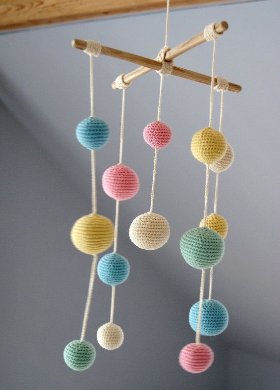 Crochet Pastel Baby Mobile – Colorful Ball Mobile(5-color mobile) – Kids room decoration – Newborn gift guide