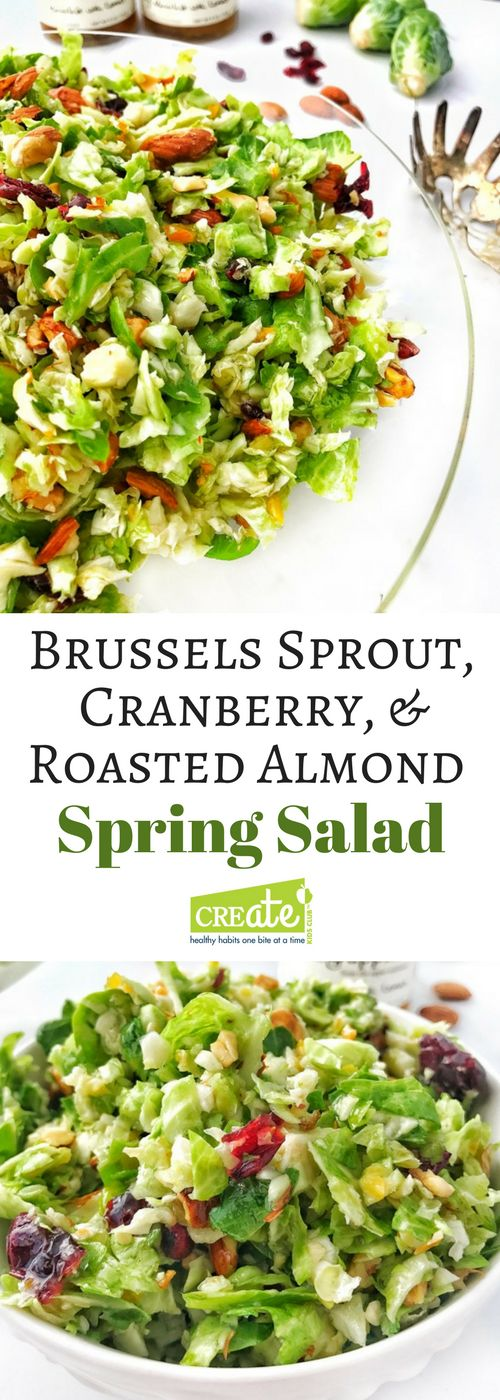Brussels sprout, Cranberry, & Roasted Almond Salad the perfect Spring or Summer salad (ad). This simple salad does not get soggy, the dressing can go on right away. Easy to make using kitchen hack provided for easily shredding Brussels sprouts. A dish to pass that will be a favorite. #quinceandapple