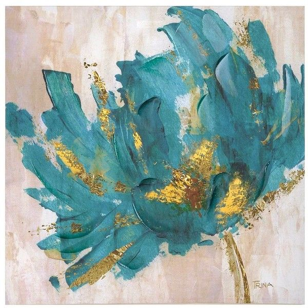turquoise and gold flower canvas art print 70 liked on polyvore featuring home - Home Decor Wall Hangings