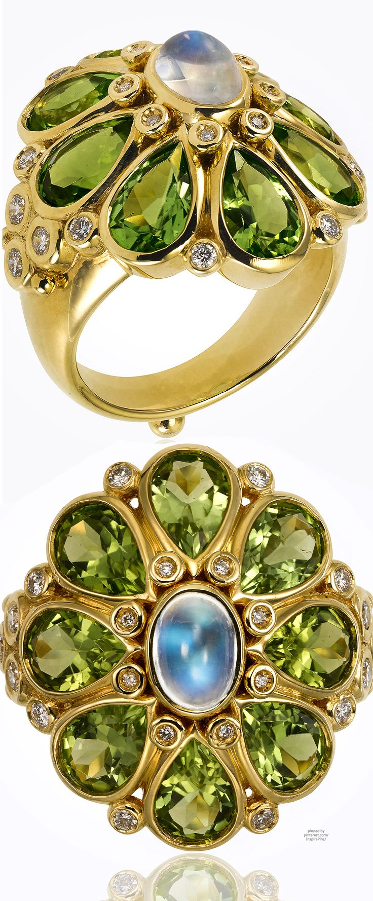 Temple St. Clair 18K Blossom Ring | Blue Moonstone, Peridot, Diamonds