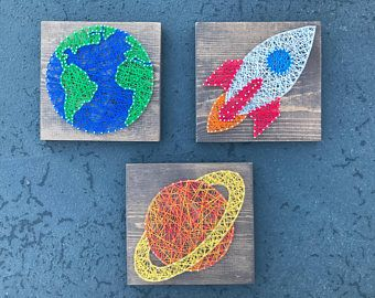 MADE TO ORDER- Space String Art Trio- Rocketship, Saturn, and Earth